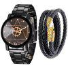 Fashion Creative Men'S Stainless Steel Quartz Wrist Watch Set - BLACK
