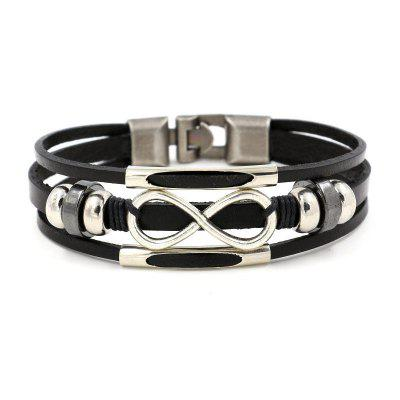 Stylisches All-in-One-Multilayer-Analemma-Lederarmband