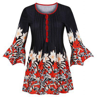 Plus Size Round Collar Buttons Vertical Pleat Printing Coat