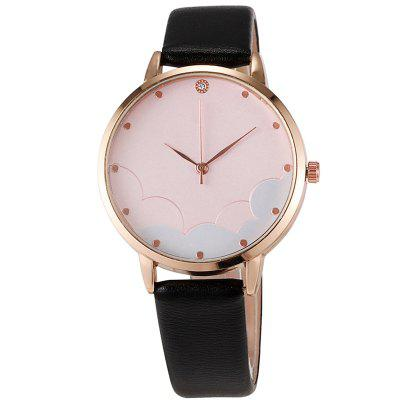 Women New Fashion Cloud Surface Leather Strap with Diamonds quartz Watch