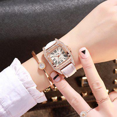 New Fashion Ladies Simple Square Trend Inlaid Diamonds Quartz Watch