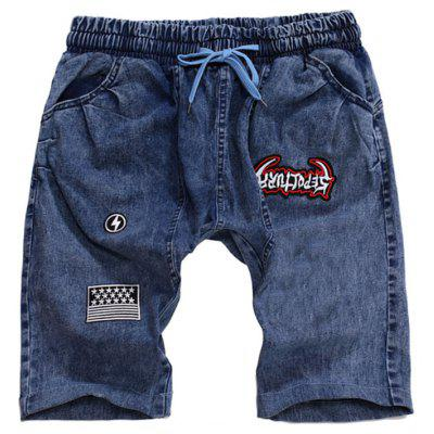 Men's Hanging Rope Jeans Applique Shorts In Summer