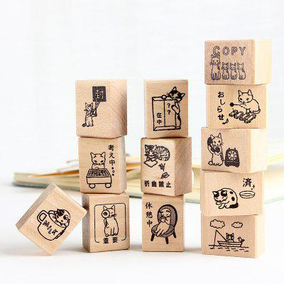 Kawaii Cat Wooden Stamp Set DIY Scrapbooking Tools Rubber Stamps