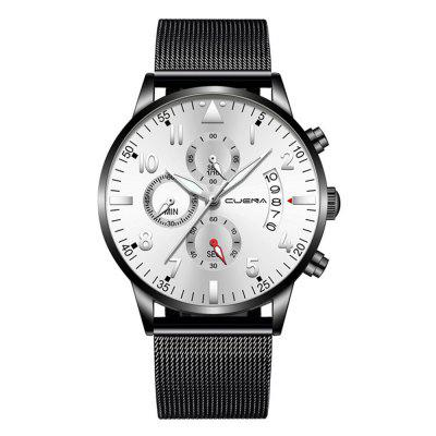 Fashion Steel Mesh with Calendar Dial Decorative Waterproof Quartz Men'S Watch