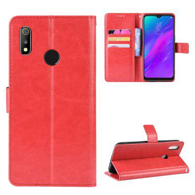 Crazy Horse PU Leather Phone Case For OPPO Realme 3, Red;brown;gold;black