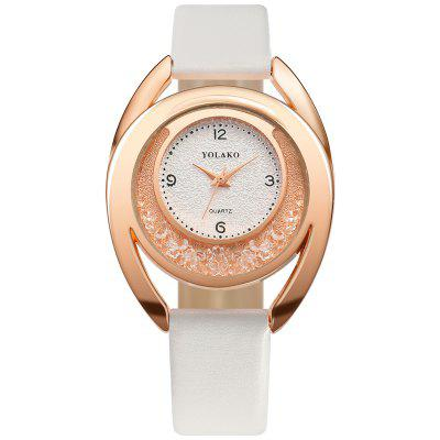 Women'S Fashion Smooth Leather Strap with Diamond Quicksand Dial Quartz Watch
