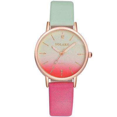 New Fashion Ladies Simple Leather Strap with Gradient Surface Quartz Watch