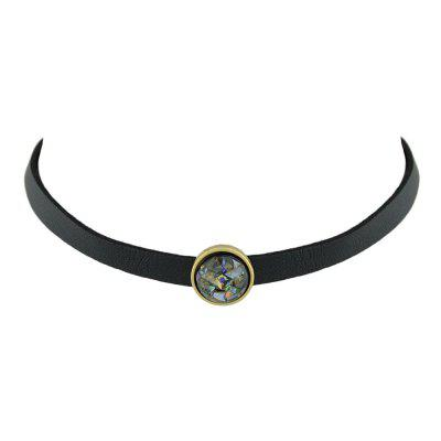Black Pu Leather Choker Necklace with White Black Beads