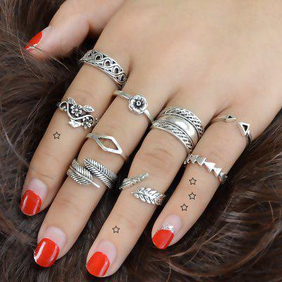 Antique Silver Color Flower Leaf Ring Set 9PCS/Set
