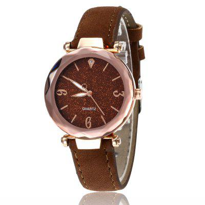 Women'S Trends Starry Fashion Scrub Soft Leather Strap Quartz Watch