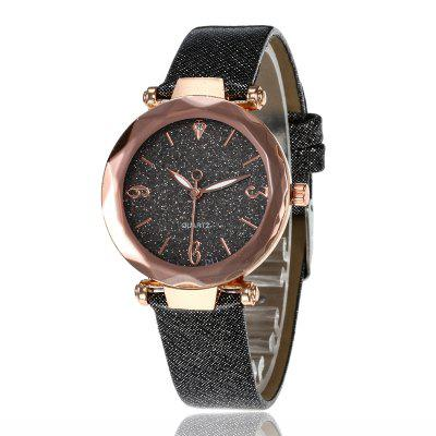 Femmes Fashion Crystal Starry Sky Scrub Soft Leather Strap Quartz Watch