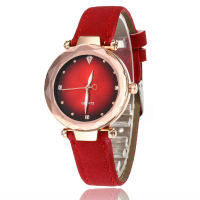 Women'S Simple and Stylish Soft Leather Strap with Diamonds Quartz Watches