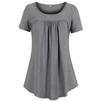 Round Collar Pure Color With Short Sleeves Fold Simple Loose T-Shirt