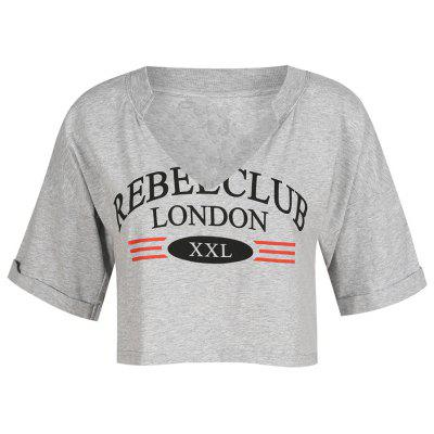 Stylish and Simple V-Neck Letter Printed Street Style T-Shirt