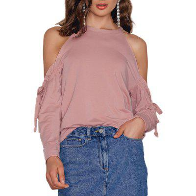 Stylish Sweet Sexy Off-Shoulder Pleated Drawstring T-Shirt