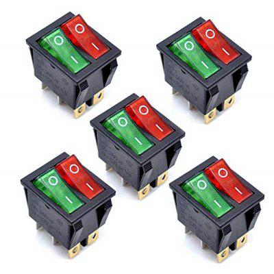 KCD4 AC 250V 16A Negru 6P Terminale ON / OFF Comutator dublu SPST 2 Way 5Pcs