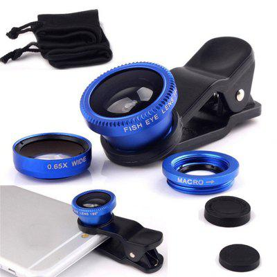 3 in 1 Fish Eye Wide Angle Macro Camera Clip-on Lens for Cell Phone