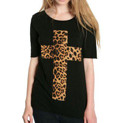 Fashion Simple Leopard Cross Short Sleeve T-Shirt