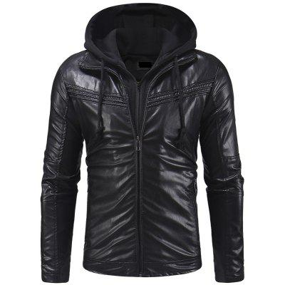 Design Men Casual Slim Zipper Hooded Leather Jacket Leather