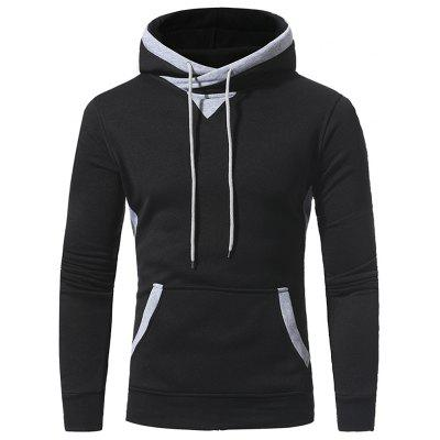 Patch Accessories Men Casual Hooded Sweater Coat