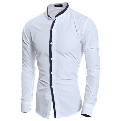 Stand Collar Color Matching Threshold Men Casual Slim Long Sleeve Shirt