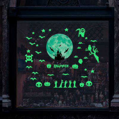 Halloween Nightlight Ghost Bat Sticker Combinaison d'étoiles de lune