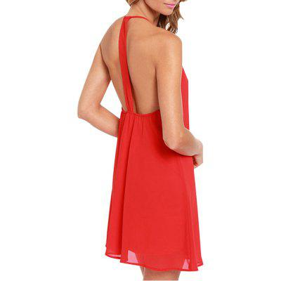 T-Shaped Halter Dress with Chiffon A-Line Slim Dress