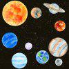 Watercolor Solar System Luminous Decorative Wall Paste Nine Planets Wall Stickers - MULTI-A