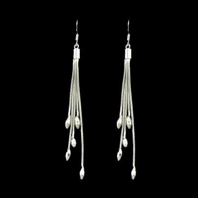 Silver Color Tassel With Beads Dangle Earrings