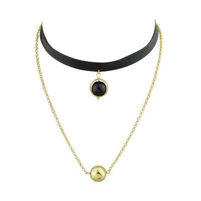 Black Pu Leather Tattoos Choker Necklace