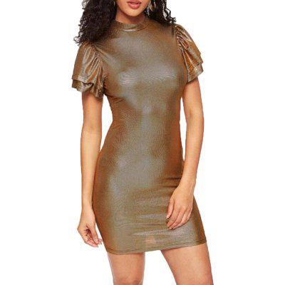 Women's Small Round Neck Short Sleeved Solid Color Dress