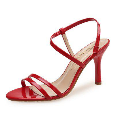 Solid Color Patent Leather High-Heeled Open-Toed Sandals