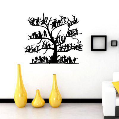 Big Tree Family Characters Wall Decoration Sticker