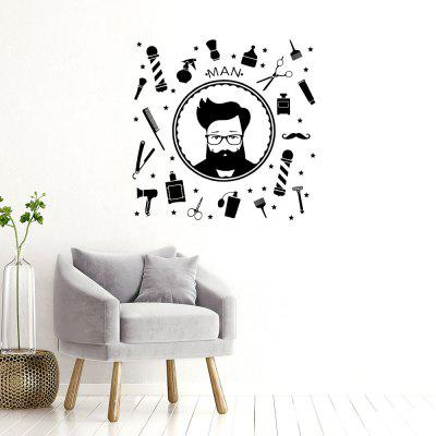 Hairdresser'S Head A Glass Window Lable Sticker Remove Decoration