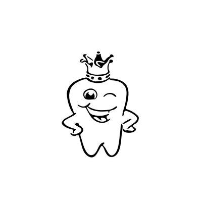 Cute Tooth Crown Toilet Glass Sticker Home Removable Decoration