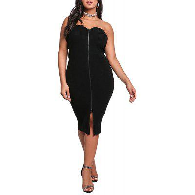 Women'S Plus Size Knitted Dress Zipper Wrapped Bodycon Midi Dress