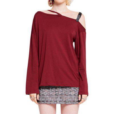 Fashion Sexy Strapless Solid Color Long Sleeve T-Shirt