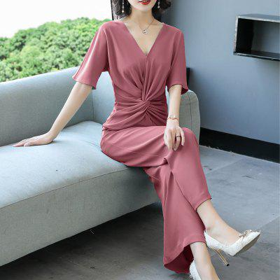 Fashion Simple Solid Color Broad-legged Women Jumpsuit