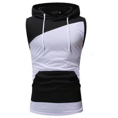 Color Matching Men Casual Slim Hooded Sleeveless T-Shirt