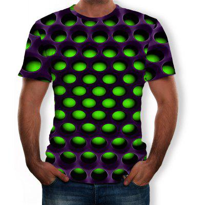 3D Summer Fashion New Geometric Round Hole Printing Men's Short-Sleeved T-shirt