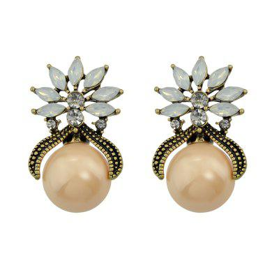 Gray Champagne Simulated-pearl Crystal Stud Earrings