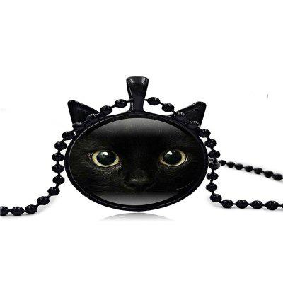 Men's Time Jewelry Kitty Black-Faced Cat Ear Pendant Necklace