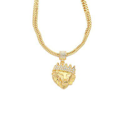 European and American Crown Lion Head Pendant Personality Men Necklace