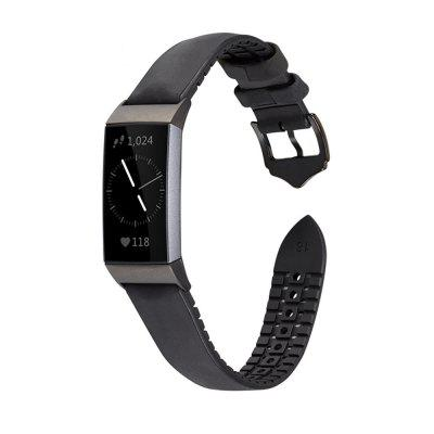 Leather Silicone Replacement Watch Band for Fitbit Charge 3