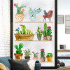 Fashion Creative Potted Plants Removable PVC Window Film Wall Sticker - MULTI