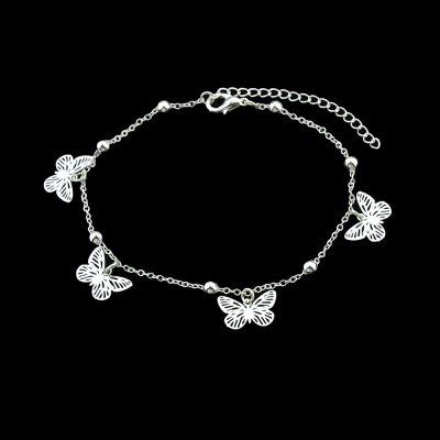 Gold Silver Color Hollow Out Butterfly Anklet
