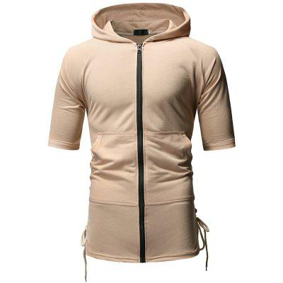 Drawstring Design Men Casual Slim Hooded Short-Sleeved T-Shirt