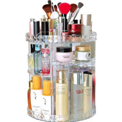 Diamond Pattern 360 Rotating Cosmetic Storage Box Skin Care Product Storage Rack