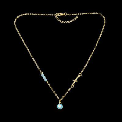Silver Gold Color Chain Blue Beads Cross Necklace