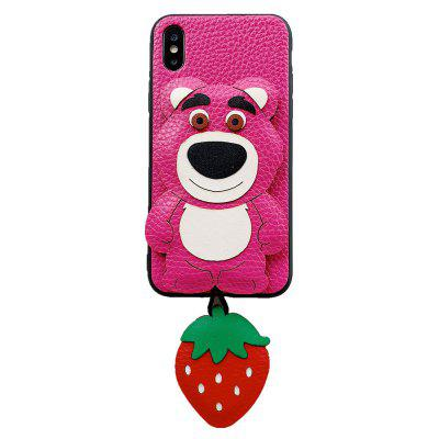3D Animal Cartoon Pink Strawberry Bear Back Custodia per iPhone X / iPhone XS